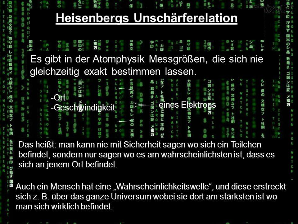 Heisenbergs Unschärferelation Es gibt in der Atomphysik Messgrößen, die sich nie gleichzeitig exakt bestimmen lassen. -Ort -Geschwindigkeit eines Elek