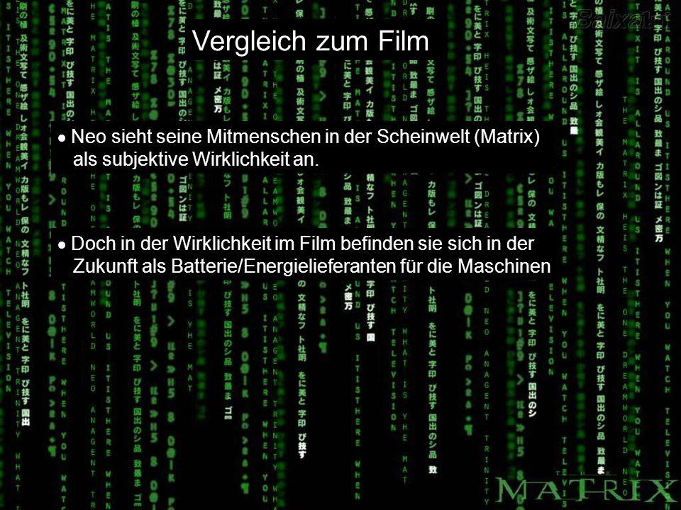 Vergleich zum Film Neo sieht seine Mitmenschen in der Scheinwelt (Matrix) als subjektive Wirklichkeit an. Doch in der Wirklichkeit im Film befinden si