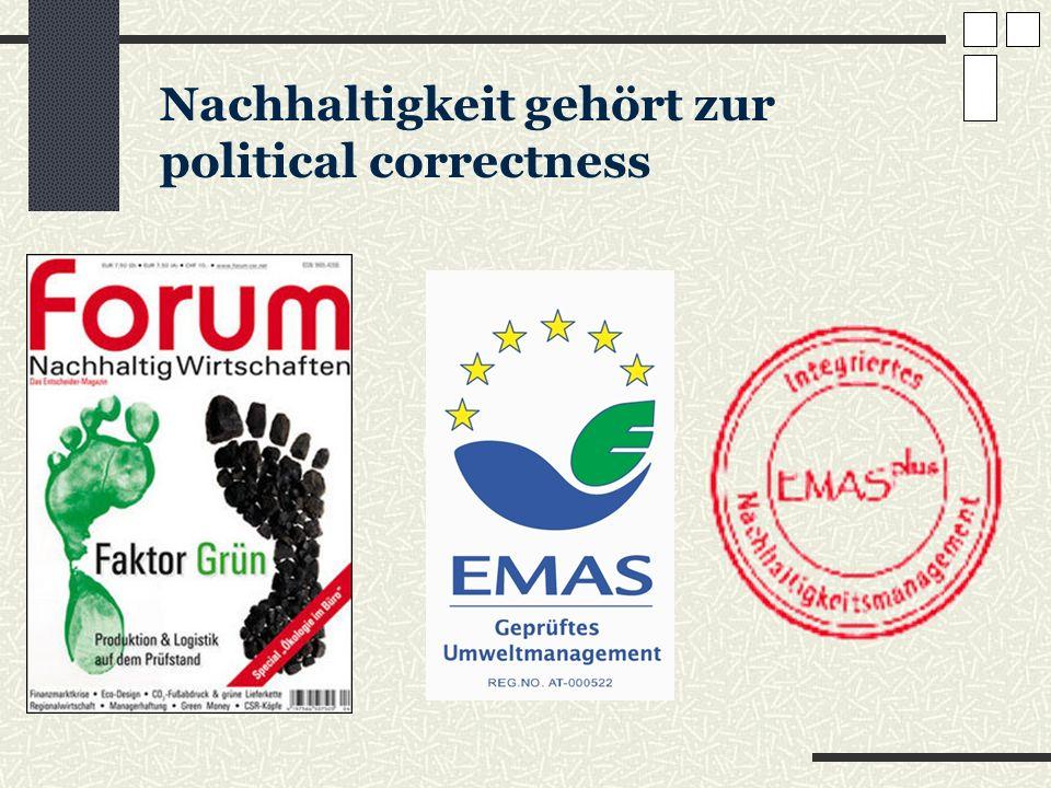Nachhaltigkeit gehört zur political correctness