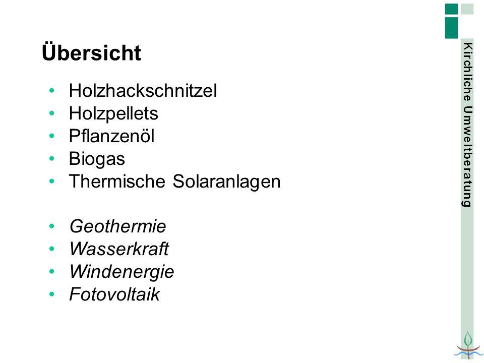 Übersicht Holzhackschnitzel Holzpellets Pflanzenöl Biogas Thermische Solaranlagen Geothermie Wasserkraft Windenergie Fotovoltaik