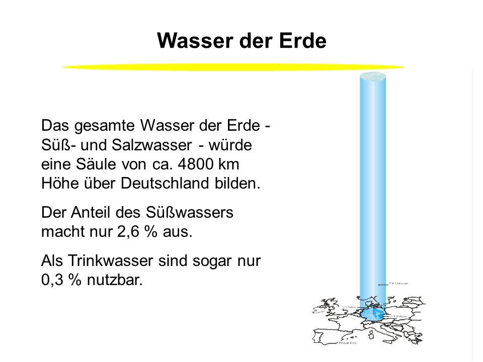 Wasser der Erde Das gesamte Wasser der Erde - Süß- und Salzwasser - würde eine Säule von ca.