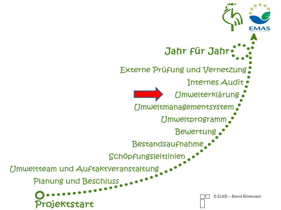 Pflicht nach EMAS © ELKB – Bernd Brinkmann Ziel der Umwelterklärung ist es, die Öffentlichkeit und andere interessierte Kreise über die Umweltauswirkungen und die Umweltleistung der Organisation sowie über die kontinuierliche Verbesserung dieser Umweltleistung zu informieren.
