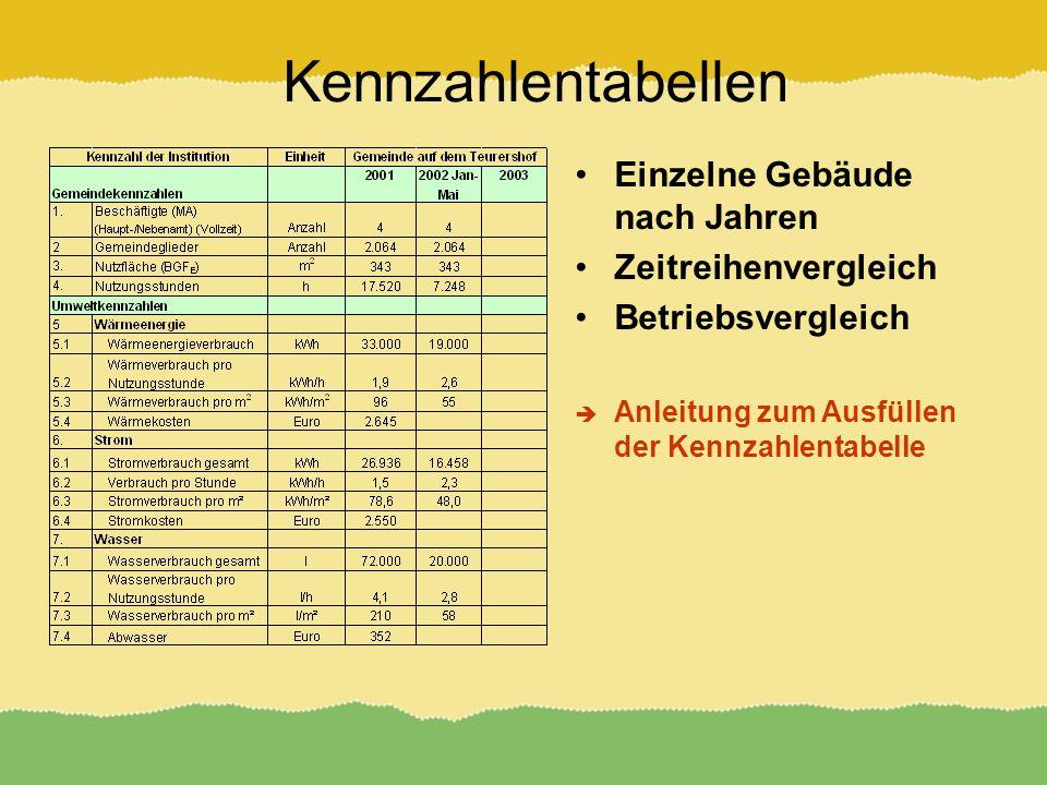 Kennzahlentabellen Einzelne Gebäude nach Jahren Zeitreihenvergleich Betriebsvergleich Anleitung zum Ausfüllen der Kennzahlentabelle