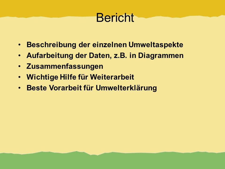 Bericht Beschreibung der einzelnen Umweltaspekte Aufarbeitung der Daten, z.B.