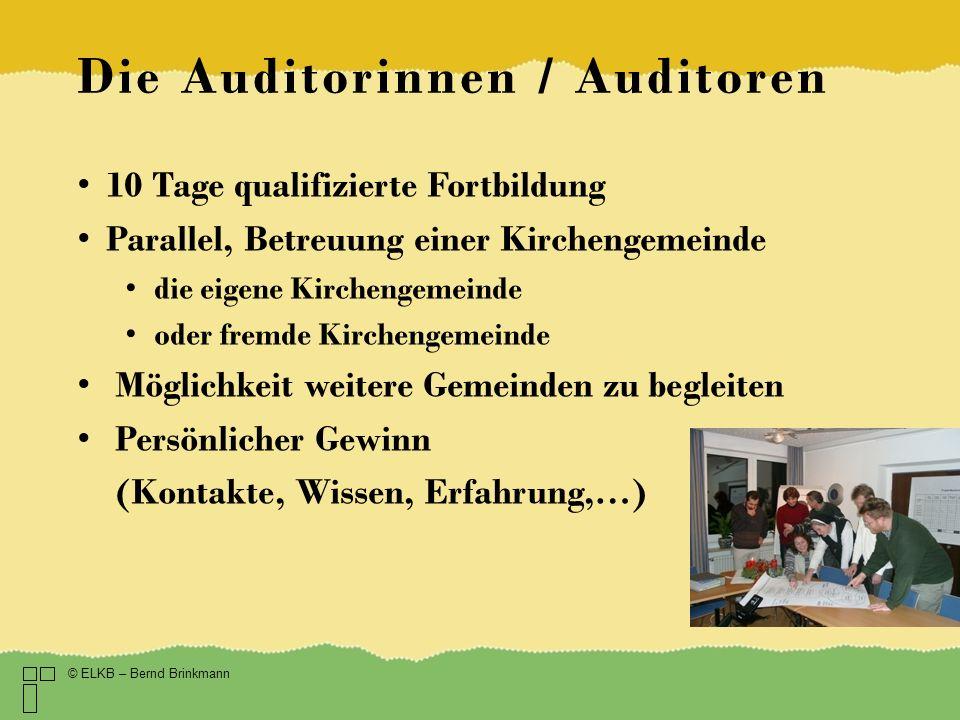 Die Auditorinnen / Auditoren 10 Tage qualifizierte Fortbildung Parallel, Betreuung einer Kirchengemeinde die eigene Kirchengemeinde oder fremde Kirche
