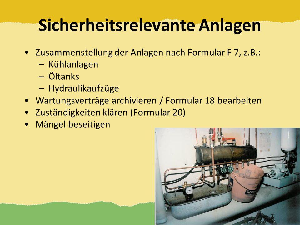 Sicherheitsrelevante Anlagen Zusammenstellung der Anlagen nach Formular F 7, z.B.: –Kühlanlagen –Öltanks –Hydraulikaufzüge Wartungsverträge archiviere