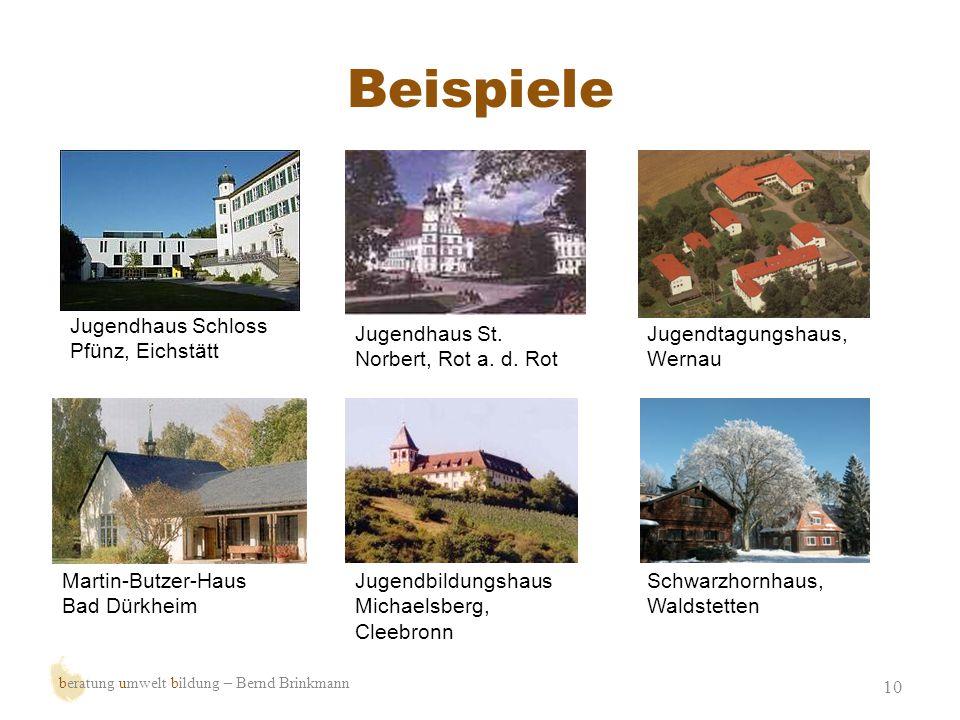 Beispiele 10 beratung umwelt bildung – Bernd Brinkmann Jugendhaus Schloss Pfünz, Eichstätt Jugendhaus St. Norbert, Rot a. d. Rot Jugendtagungshaus, We