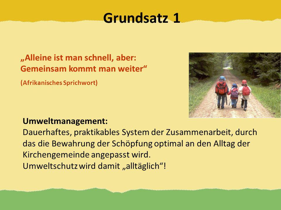 Grundsatz 1 Alleine ist man schnell, aber: Gemeinsam kommt man weiter (Afrikanisches Sprichwort) Umweltmanagement: Dauerhaftes, praktikables System de