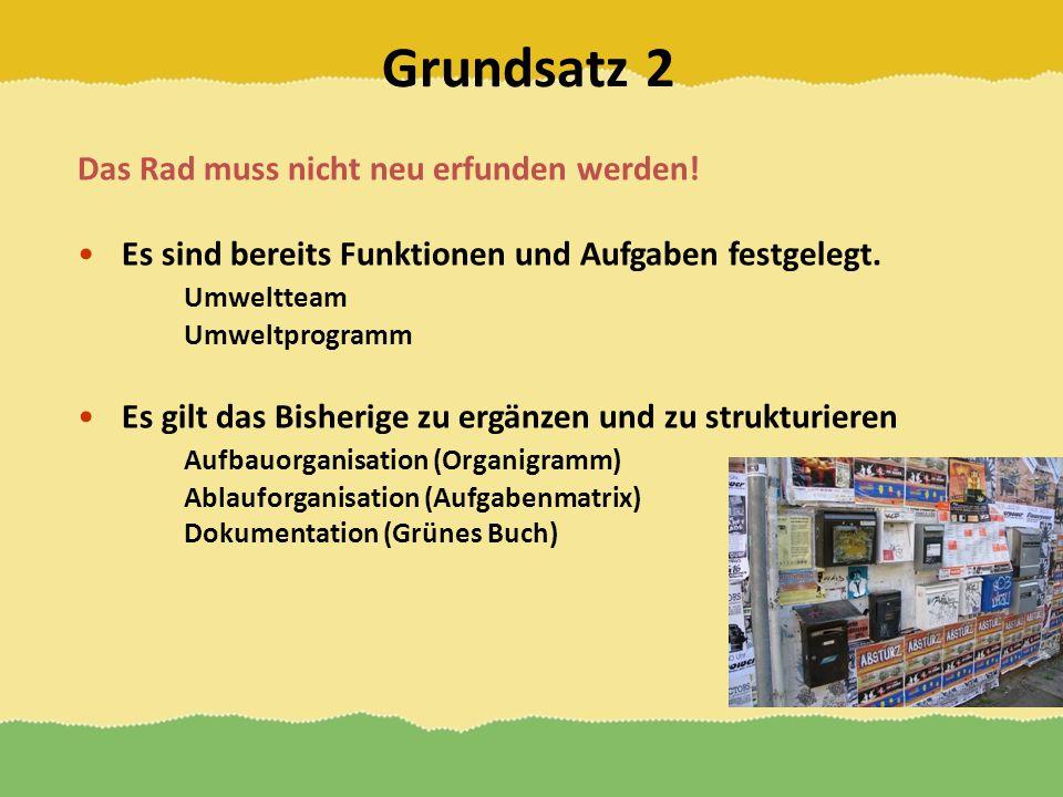 Grundsatz 2 Das Rad muss nicht neu erfunden werden! Es sind bereits Funktionen und Aufgaben festgelegt. Umweltteam Umweltprogramm Es gilt das Bisherig