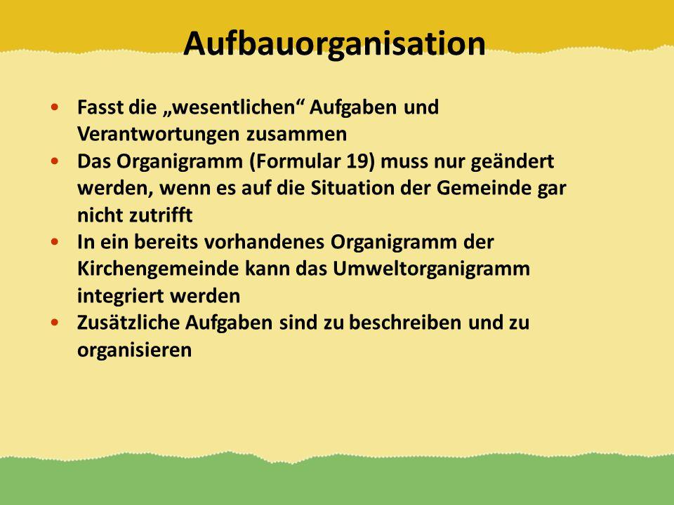Aufbauorganisation Fasst die wesentlichen Aufgaben und Verantwortungen zusammen Das Organigramm (Formular 19) muss nur geändert werden, wenn es auf di
