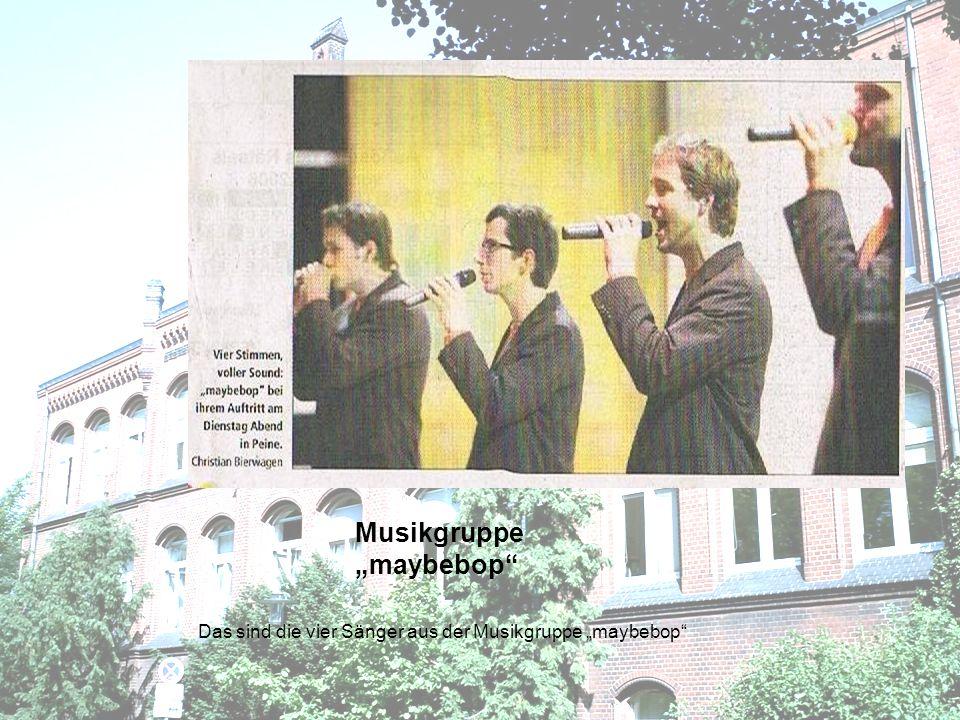 Aktuelle Popsongs a capella auch im Schulunterricht Man kann gar nicht glauben,dass die vier jungen Männer diesen Sound ganz ohne Begleitung von Instrument ´,nur mit ihren Stimmen,entwickeln zeigt sich Friederike Thöns begeistert.