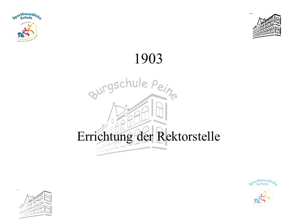 1903 Errichtung der Rektorstelle