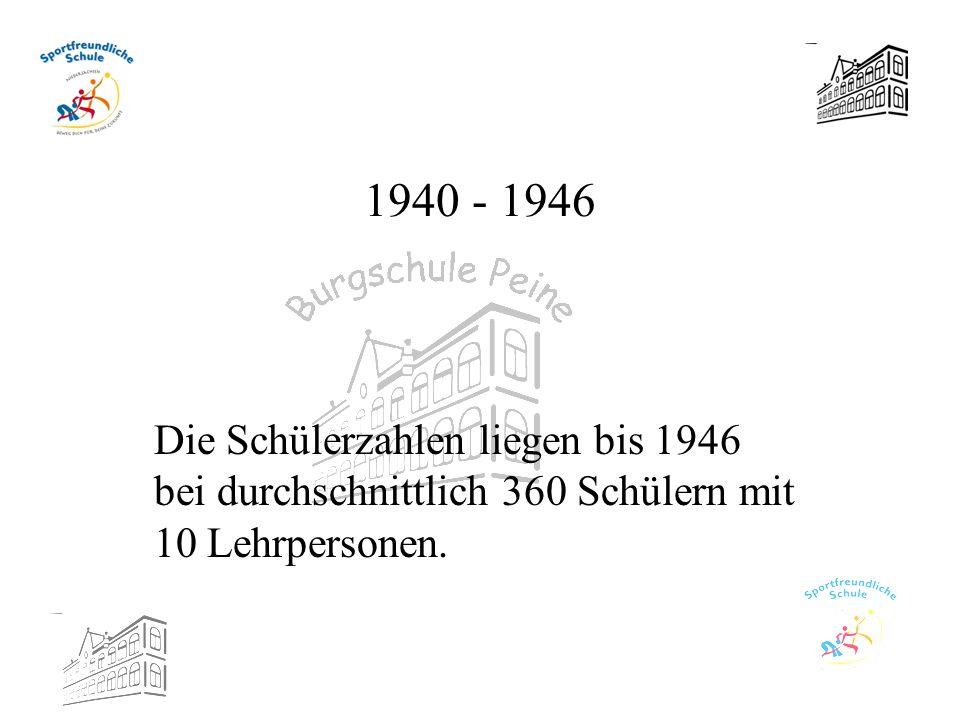 1940 - 1946 Die Schülerzahlen liegen bis 1946 bei durchschnittlich 360 Schülern mit 10 Lehrpersonen.