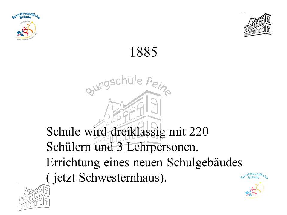 1885 Schule wird dreiklassig mit 220 Schülern und 3 Lehrpersonen. Errichtung eines neuen Schulgebäudes ( jetzt Schwesternhaus).
