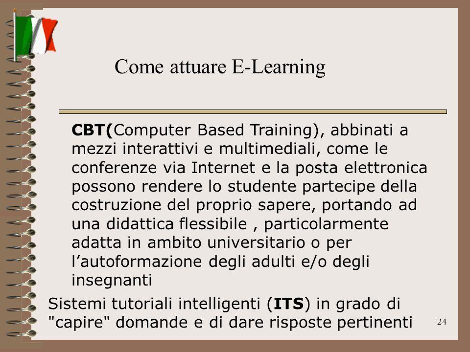 24 CBT(Computer Based Training), abbinati a mezzi interattivi e multimediali, come le conferenze via Internet e la posta elettronica possono rendere l