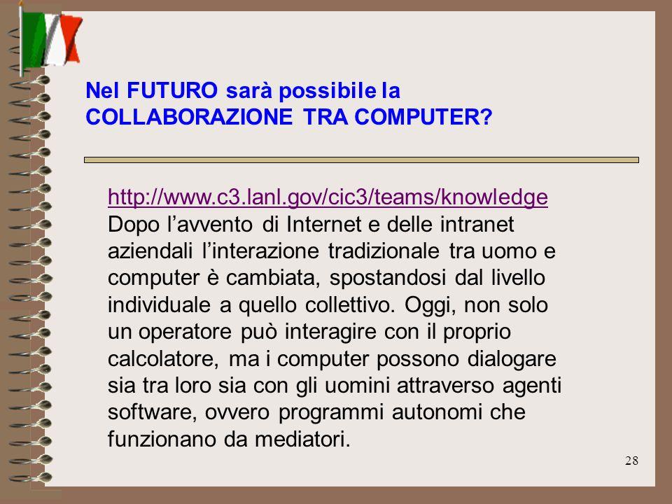 28 http://www.c3.lanl.gov/cic3/teams/knowledge http://www.c3.lanl.gov/cic3/teams/knowledge Dopo lavvento di Internet e delle intranet aziendali linter