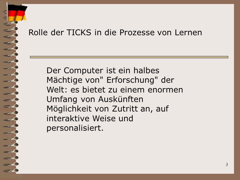 3 Rolle der TICKS in die Prozesse von Lernen Der Computer ist ein halbes Mächtige von Erforschung der Welt: es bietet zu einem enormen Umfang von Auskünften Möglichkeit von Zutritt an, auf interaktive Weise und personalisiert.