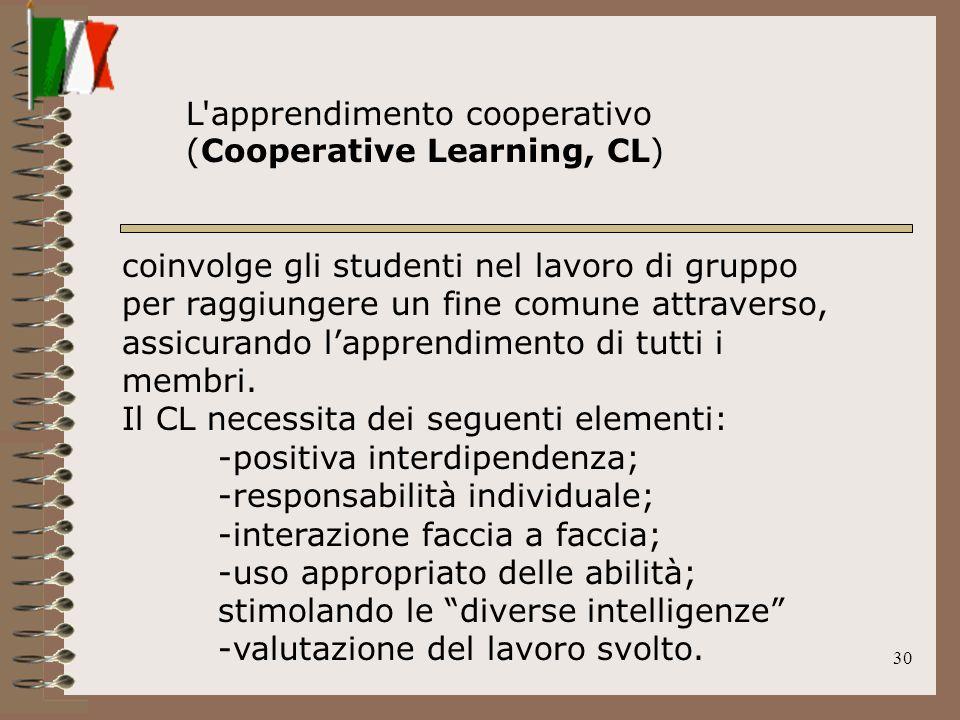 30 coinvolge gli studenti nel lavoro di gruppo per raggiungere un fine comune attraverso, assicurando lapprendimento di tutti i membri. Il CL necessit
