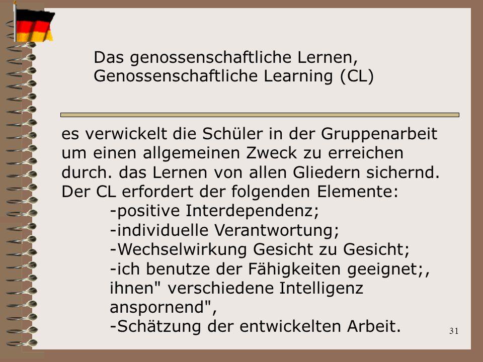 31 es verwickelt die Schüler in der Gruppenarbeit um einen allgemeinen Zweck zu erreichen durch. das Lernen von allen Gliedern sichernd. Der CL erford