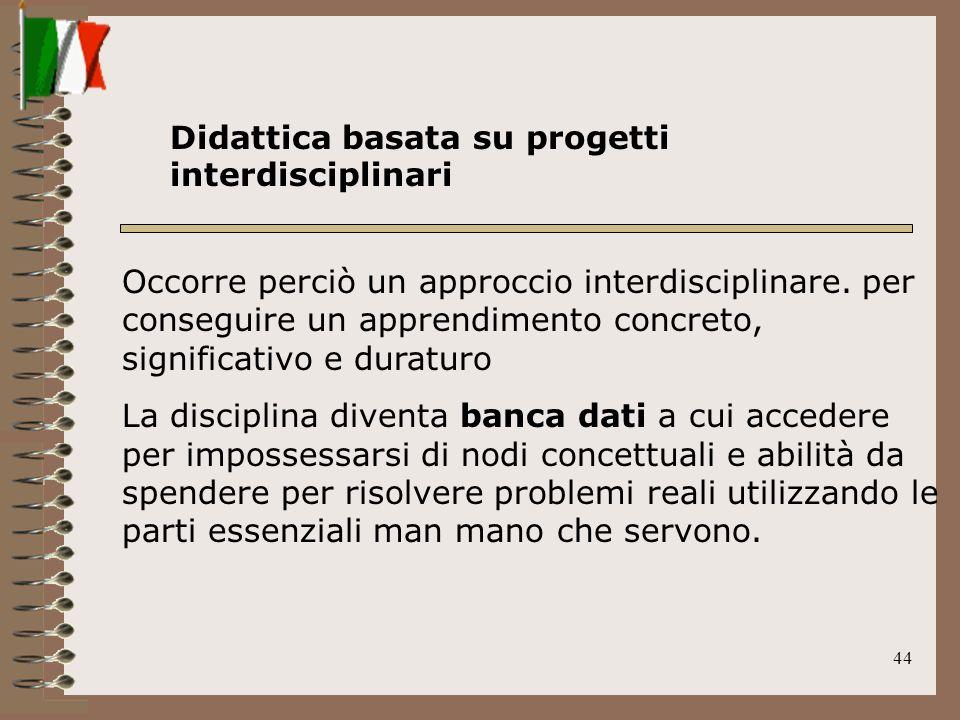44 Occorre perciò un approccio interdisciplinare. per conseguire un apprendimento concreto, significativo e duraturo La disciplina diventa banca dati