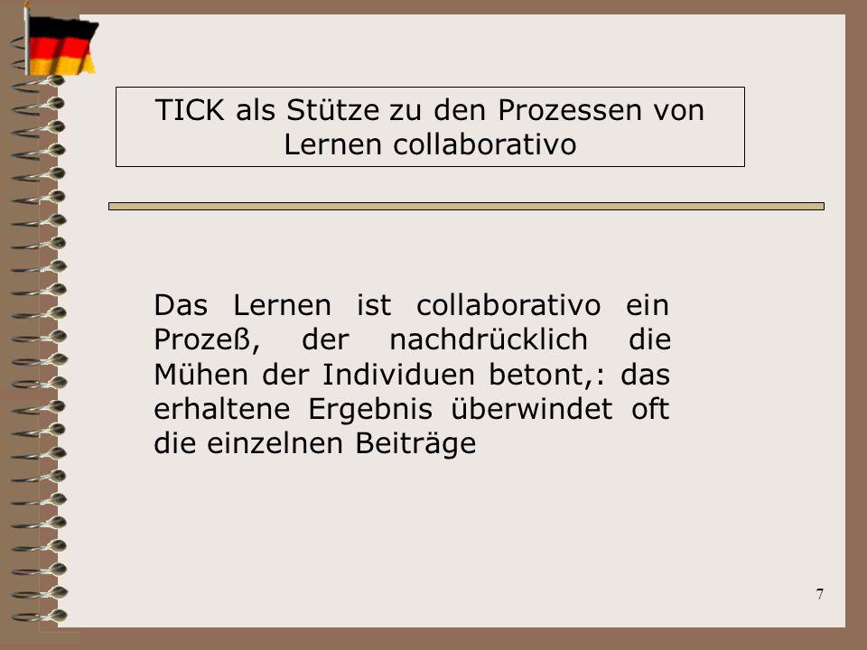 7 TICK als Stütze zu den Prozessen von Lernen collaborativo Das Lernen ist collaborativo ein Prozeß, der nachdrücklich die Mühen der Individuen betont,: das erhaltene Ergebnis überwindet oft die einzelnen Beiträge