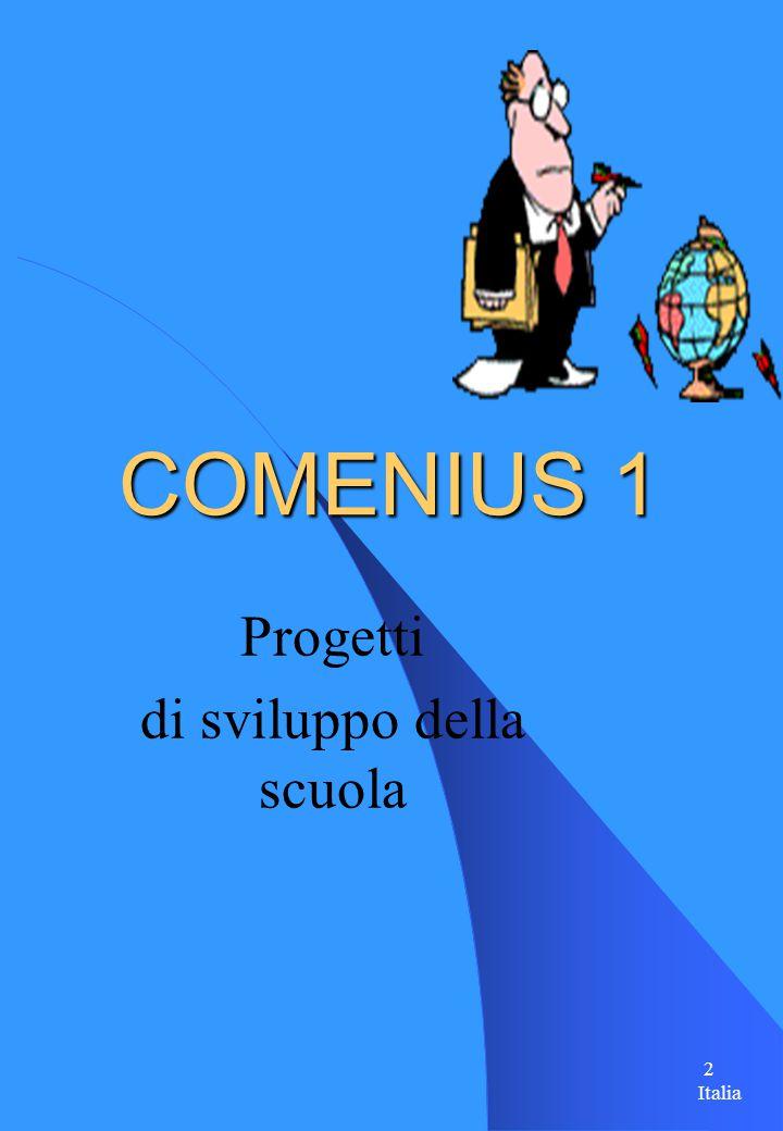 2 COMENIUS 1 Progetti di sviluppo della scuola Italia