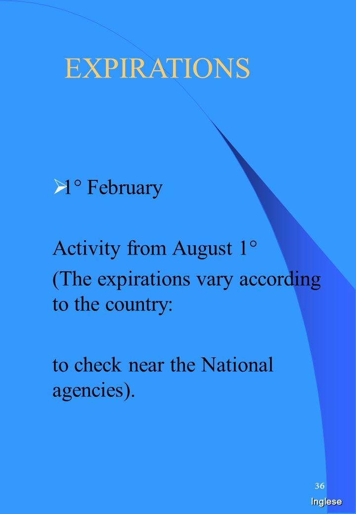 35 Spagnolo PLAZOS 1° de febrero Actividad del 1° de agosto, (Los plazos varían según el país: controlar cerca de las agencias Nacionales ).