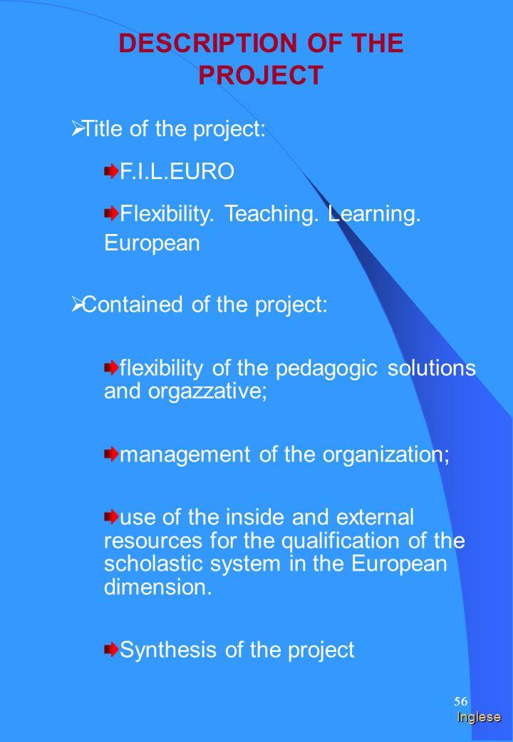 55 Spagnolo DESCRIPCIÓN DEL PROYECTO Título del proyecto: F.I.L.EURO Flexibilidad.