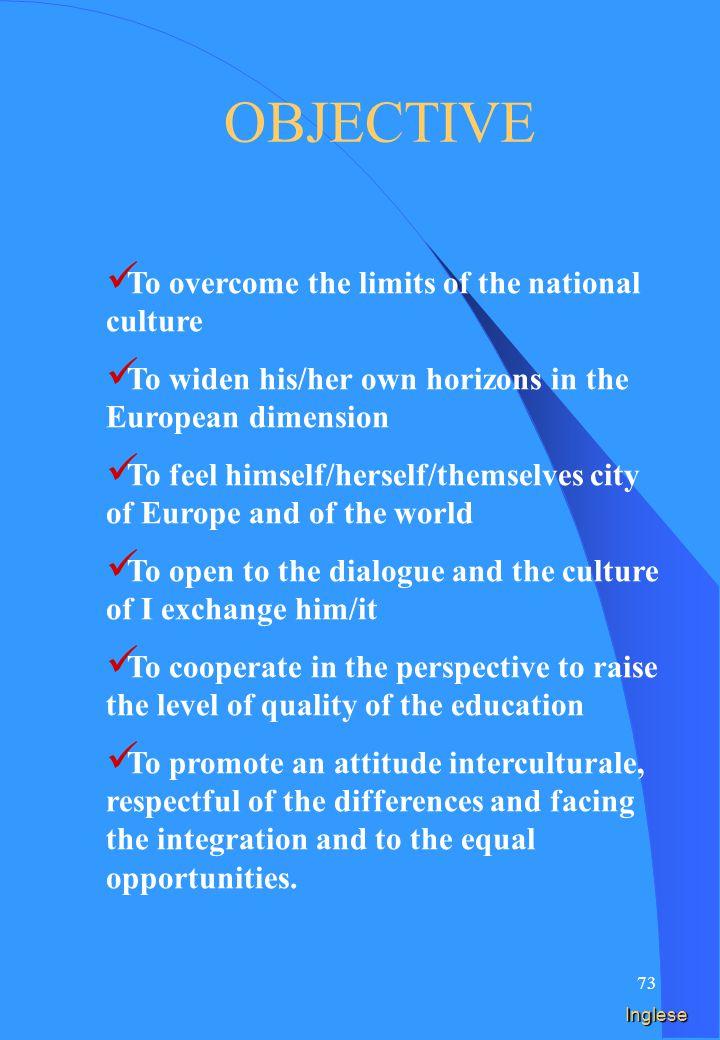 72 Spagnolo Superar los límites de la cultura nacional Ampliar los mismos horizontes en la dimensión europea Sentirse ciudadanos de Europa y del mundo Abrirse al diálogo y a la cultura del cambio Cooperar en la perspectiva de elevar el nivel de calidad de la instrucción Promover una actitud interculturale, respetuoso de las diversidades y para la integración y a las igual oportunidad.