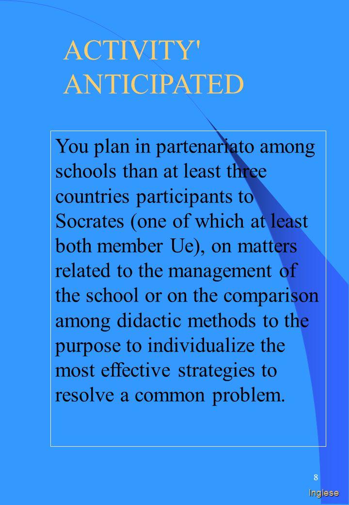 18 Prima di presentare la candidatura per un progetto è possibile partecipare a: Seminari preparatori (organizzati ufficialmente a livello europeo) Visite preparatorie Italia