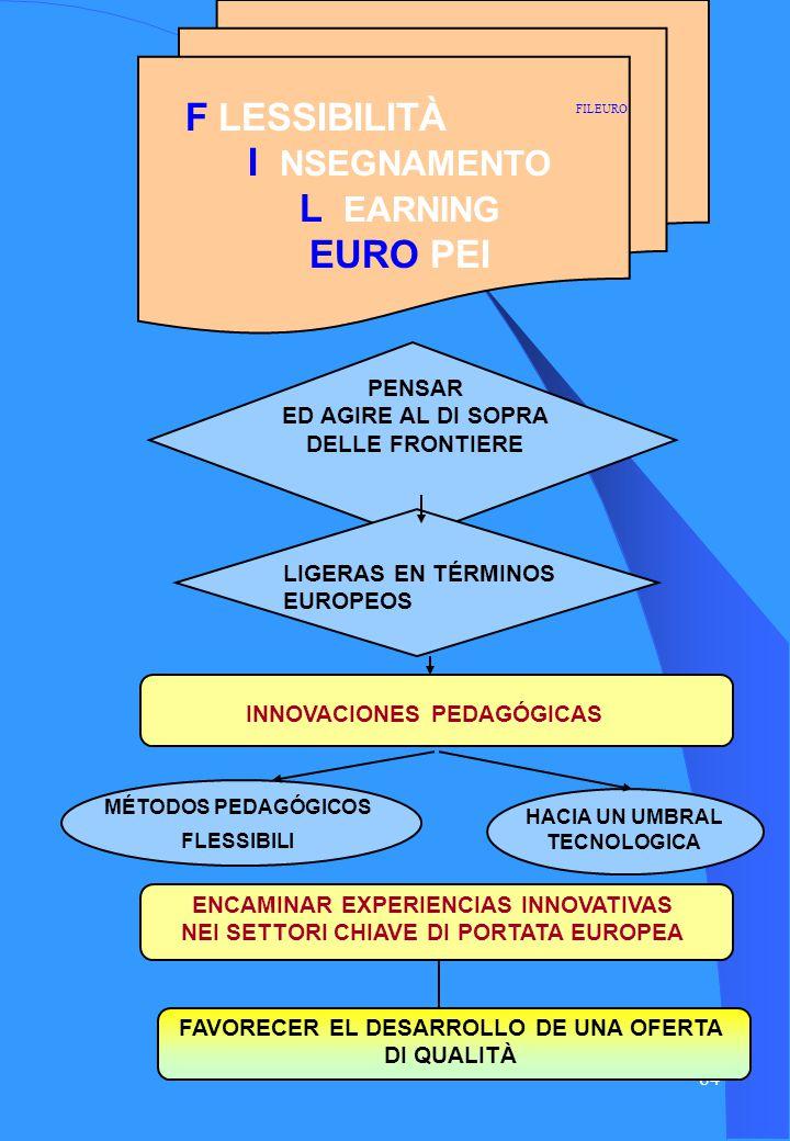 83 F LESSIBILITÀ I NSEGNAMENTO L EARNING EURO PEI PENSARE ED AGIRE AL DI SOPRA DELLE FRONTIERE LEGGERE IN TERMINI EUROPEI INNOVAZIONI PEDAGOGICHE METODI PEDAGOGICI FLESSIBILI VERSO UNA SOGLIA TECNOLOGICA AVVIARE ESPERIENZE INNOVATIVE NEI SETTORI CHIAVE DI PORTATA EUROPEA FAVORIRE LO SVILUPPO DI UNOFFERTA DI QUALITÀ FILEURO Italia