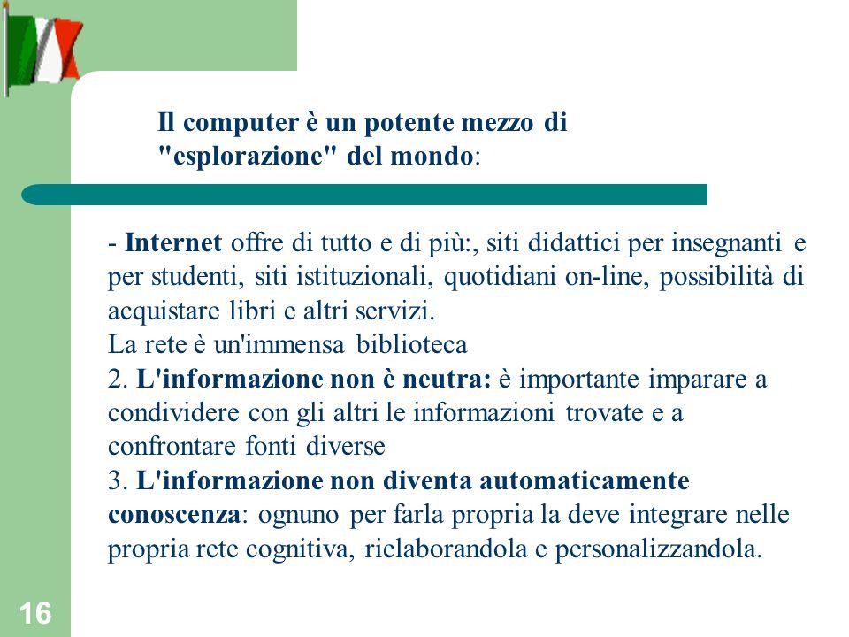 16 - Internet offre di tutto e di più:, siti didattici per insegnanti e per studenti, siti istituzionali, quotidiani on-line, possibilità di acquistare libri e altri servizi.
