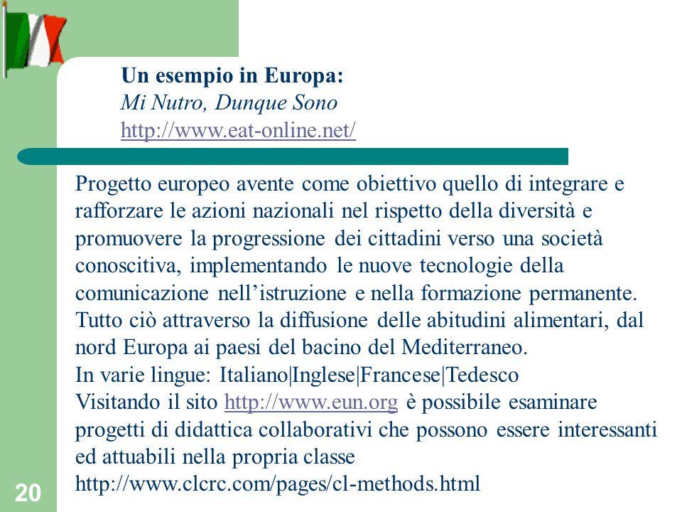 20 Progetto europeo avente come obiettivo quello di integrare e rafforzare le azioni nazionali nel rispetto della diversità e promuovere la progressione dei cittadini verso una società conoscitiva, implementando le nuove tecnologie della comunicazione nellistruzione e nella formazione permanente.