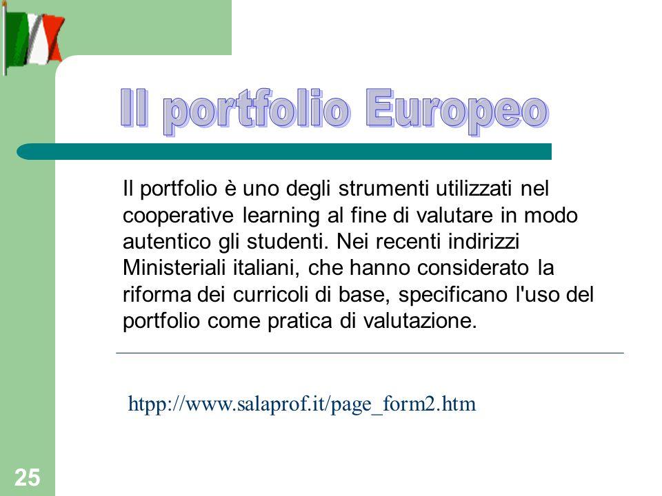 25 htpp://www.salaprof.it/page_form2.htm Il portfolio è uno degli strumenti utilizzati nel cooperative learning al fine di valutare in modo autentico gli studenti.