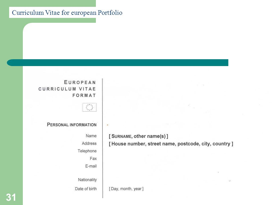 31 Curriculum Vitae for european Portfolio