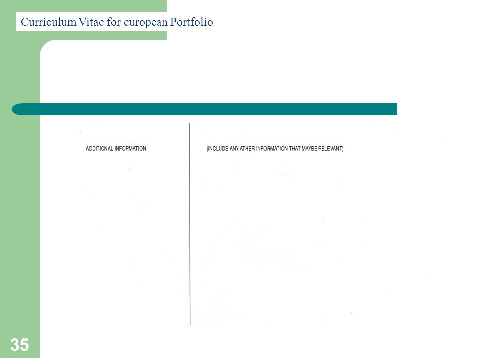 35 Curriculum Vitae for european Portfolio