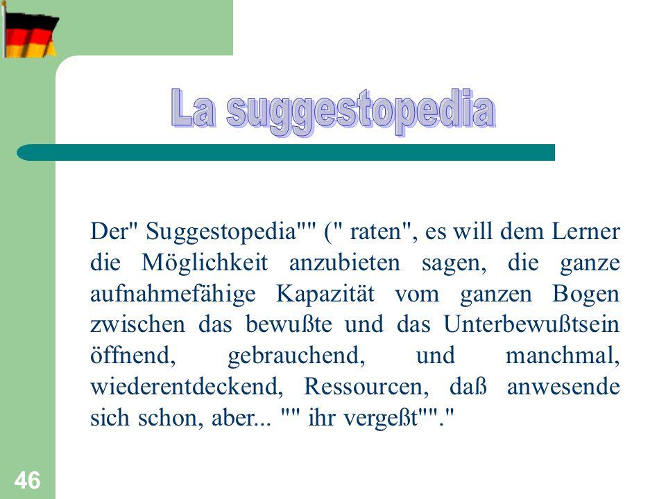 47 La suggestopedia è lo studio delle suggestioni dal punto di vista del processo di insegnamento ed apprendimento.