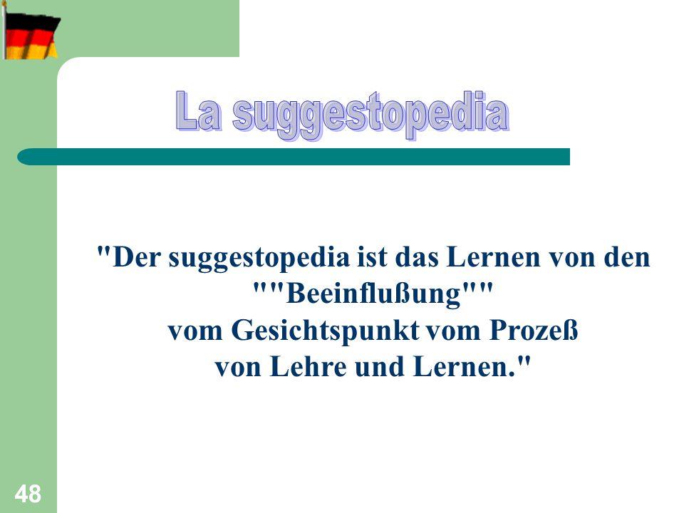 48 Der suggestopedia ist das Lernen von den Beeinflußung vom Gesichtspunkt vom Prozeß von Lehre und Lernen.