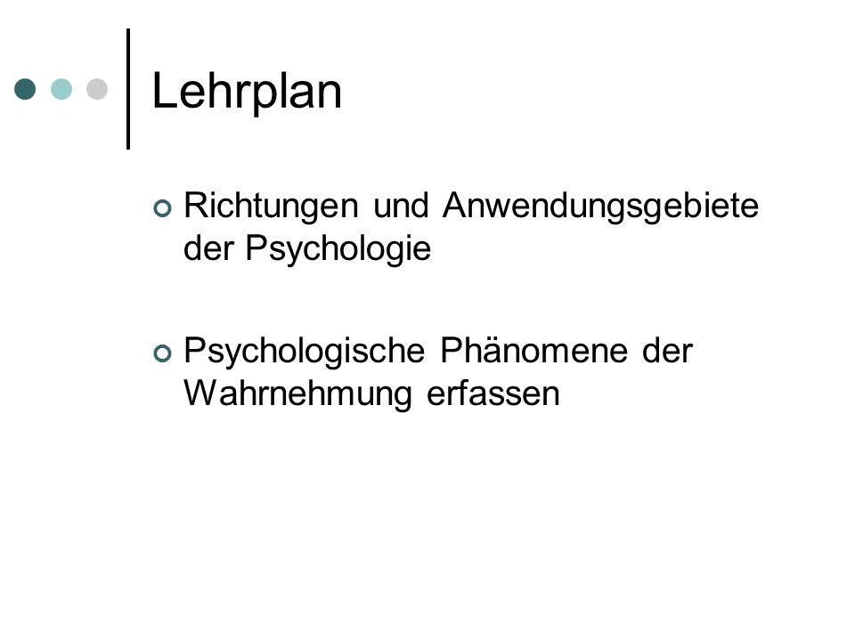 Lehrplan Richtungen und Anwendungsgebiete der Psychologie Psychologische Phänomene der Wahrnehmung erfassen