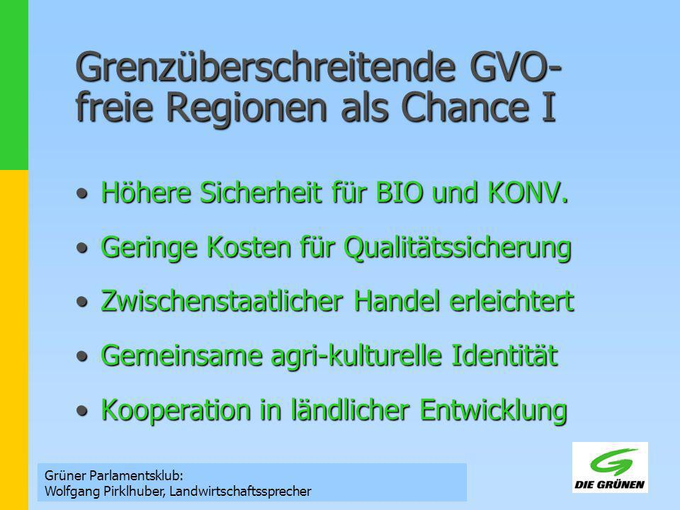 Grenzüberschreitende GVO- freie Regionen als Chance I Höhere Sicherheit für BIO und KONV.Höhere Sicherheit für BIO und KONV. Geringe Kosten für Qualit
