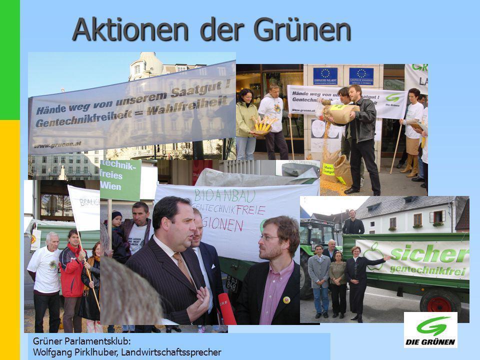 Grüner Parlamentsklub: Wolfgang Pirklhuber, Landwirtschaftssprecher Aktionen der Grünen