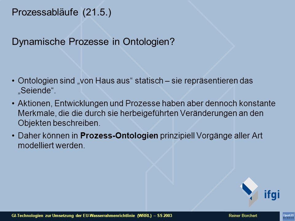 GI-Technologien zur Umsetzung der EU-Wasserrahmenrichtlinie (WRRL) – SS 2003 Reiner Borchert Links / Literatur / Material Material zum Seminar unter http://ifgi.uni-muenster.de/~moltgej/Lehre/GI_Tech/ http://ifgi.uni-muenster.de/~moltgej/Lehre/GI_Tech/ Protégé 2000: http://protege.stanford.edu/http://protege.stanford.edu/ John F.