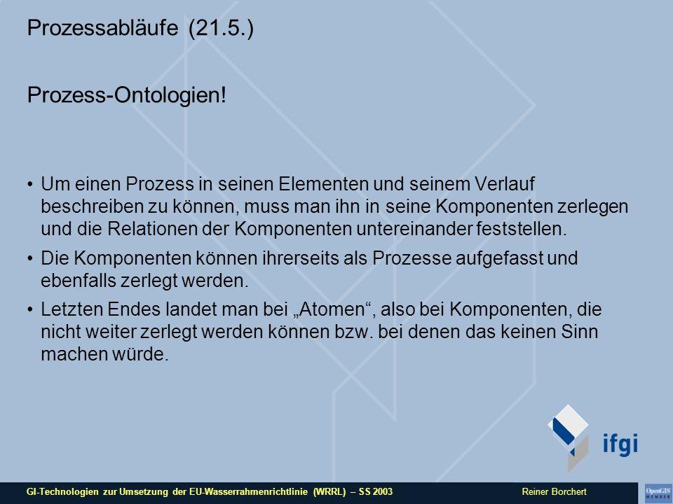 GI-Technologien zur Umsetzung der EU-Wasserrahmenrichtlinie (WRRL) – SS 2003 Reiner Borchert Prozessabläufe (21.5.) Prozess-Ontologien.