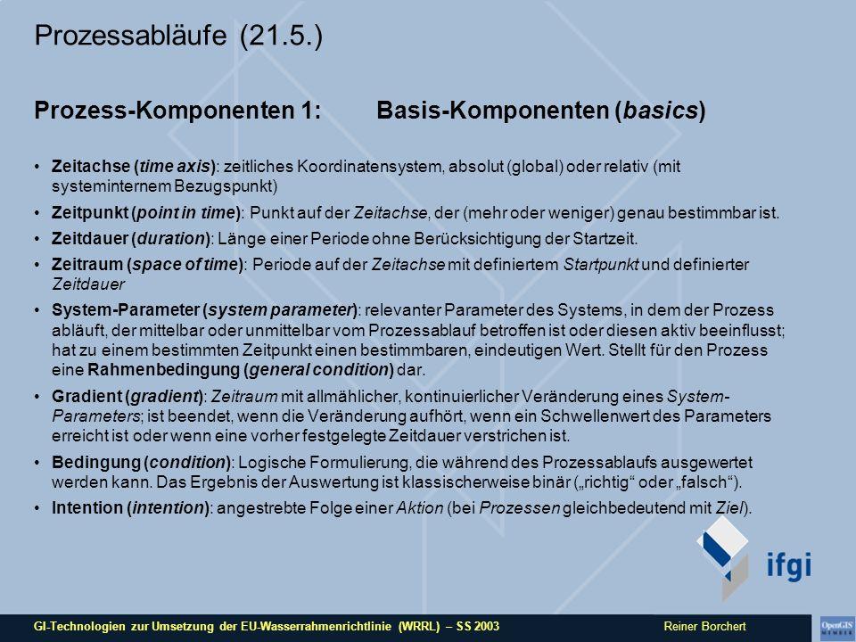 GI-Technologien zur Umsetzung der EU-Wasserrahmenrichtlinie (WRRL) – SS 2003 Reiner Borchert Prozessabläufe (21.5.) Prozess-Komponenten 2: Ereignisse (events) Ein Ereignis ist ein einzelnes Vorkommnis mit bekannter oder unbekannter Ursache, zu einem bestimmten Zeitpunkt oder in einem bestimmten Zeitraum.