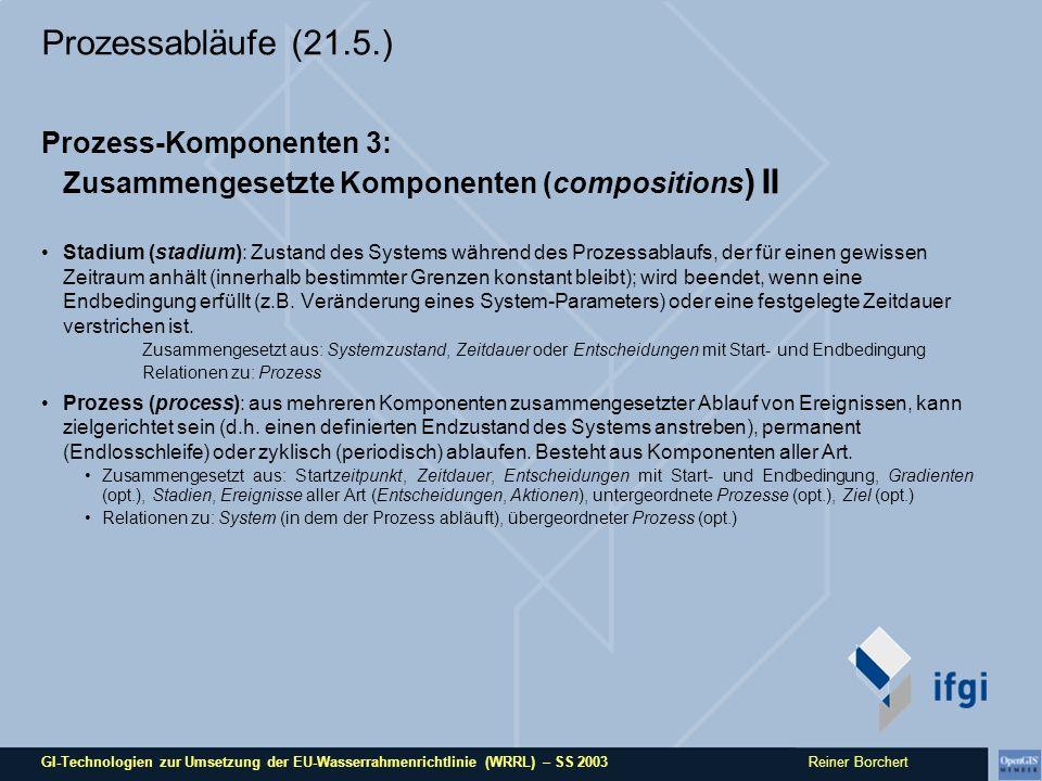GI-Technologien zur Umsetzung der EU-Wasserrahmenrichtlinie (WRRL) – SS 2003 Reiner Borchert Prozessabläufe (21.5.) Prozess-Komponenten 3: Zusammengesetzte Komponenten (compositions ) II Stadium (stadium): Zustand des Systems während des Prozessablaufs, der für einen gewissen Zeitraum anhält (innerhalb bestimmter Grenzen konstant bleibt); wird beendet, wenn eine Endbedingung erfüllt (z.B.