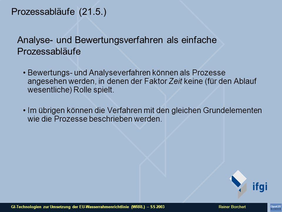 GI-Technologien zur Umsetzung der EU-Wasserrahmenrichtlinie (WRRL) – SS 2003 Reiner Borchert Prozessabläufe (21.5.) Analyse- und Bewertungsverfahren als einfache Prozessabläufe Bewertungs- und Analyseverfahren können als Prozesse angesehen werden, in denen der Faktor Zeit keine (für den Ablauf wesentliche) Rolle spielt.