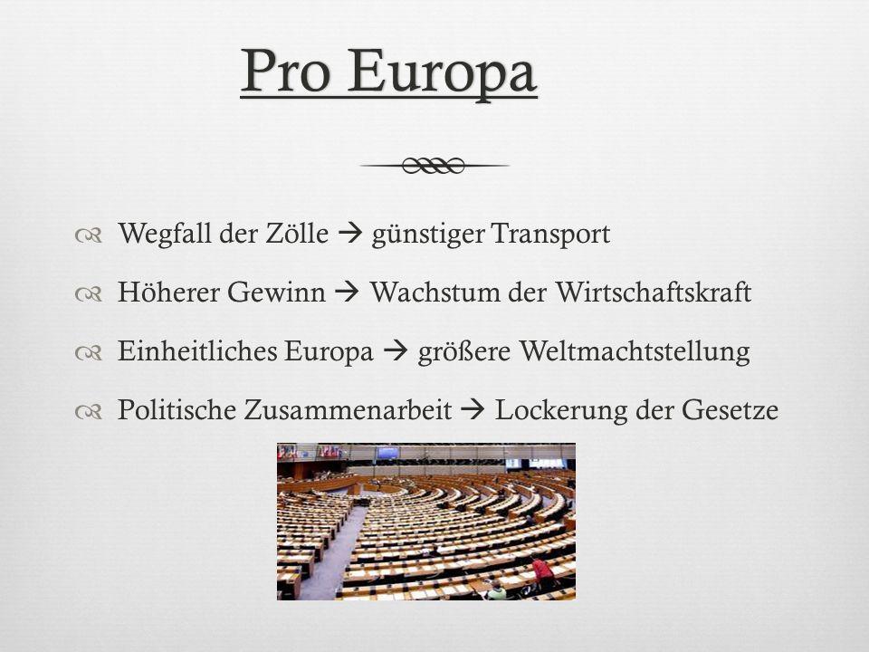 Pro EuropaPro Europa Wegfall der Zölle günstiger Transport Höherer Gewinn Wachstum der Wirtschaftskraft Einheitliches Europa größere Weltmachtstellung
