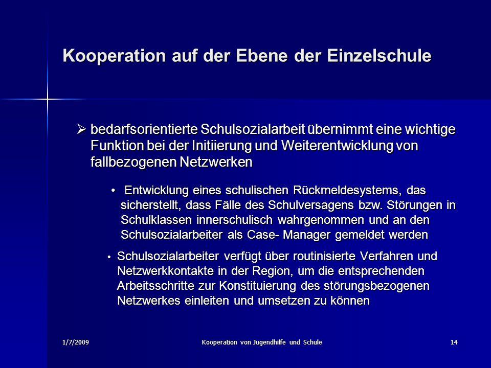 1/7/2009Kooperation von Jugendhilfe und Schule14 Kooperation auf der Ebene der Einzelschule Schulsozialarbeiter verfügt über routinisierte Verfahren u