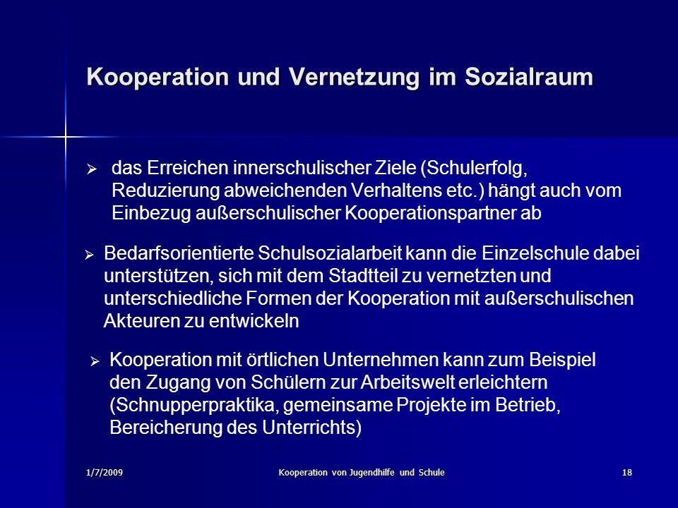 1/7/2009Kooperation von Jugendhilfe und Schule18 Kooperation und Vernetzung im Sozialraum das Erreichen innerschulischer Ziele (Schulerfolg, Reduzieru