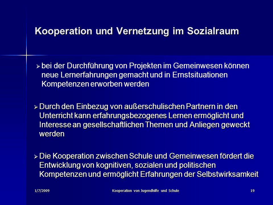 1/7/2009Kooperation von Jugendhilfe und Schule19 Kooperation und Vernetzung im Sozialraum Durch den Einbezug von außerschulischen Partnern in den Unte
